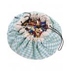 Sacco portagiochi/tappeto gioco rombi celesti